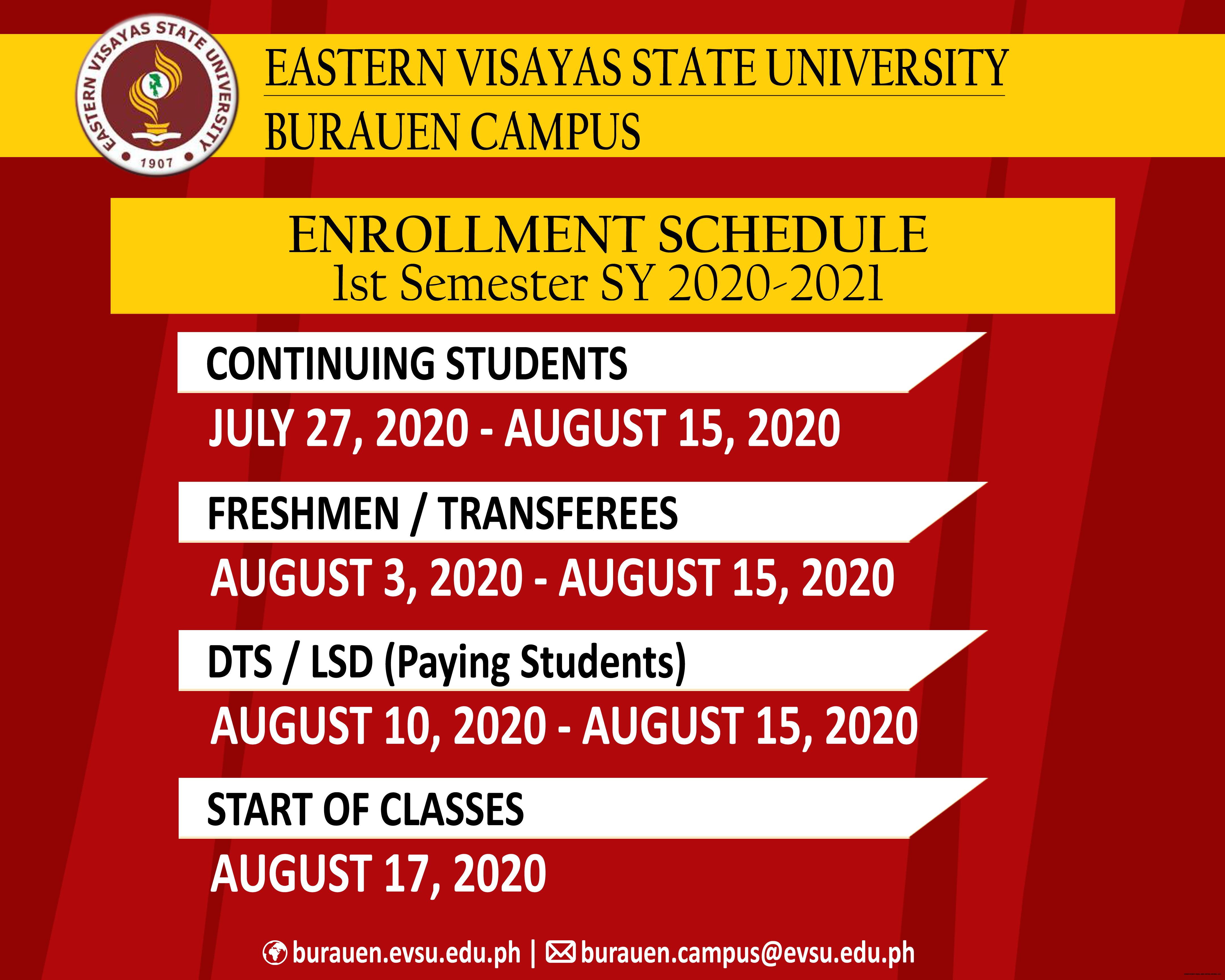 EVSU-BC Enrollment Schedule for 1st Semester SY 2020-2021 ...